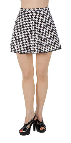 Black & White Houndstooth Spandex Skirt - Tasty Tiger - 1