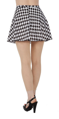 Black & White Houndstooth Spandex Skirt - Tasty Tiger - 2