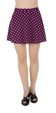 Pink Polka Dot Spandex Skirt - Tasty Tiger - 1