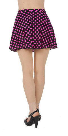 Pink Polka Dot Spandex Skirt - Tasty Tiger - 2