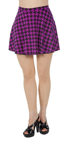 Black & Orchid Houndstooth Spandex Skirt - Tasty Tiger - 1