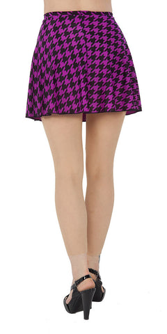 Black & Orchid Houndstooth Spandex Skirt - Tasty Tiger - 2