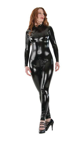 Busty Latex Look PVC Catsuit - Tasty Tiger - 1