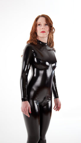 Busty Latex Look PVC Catsuit - Tasty Tiger - 3