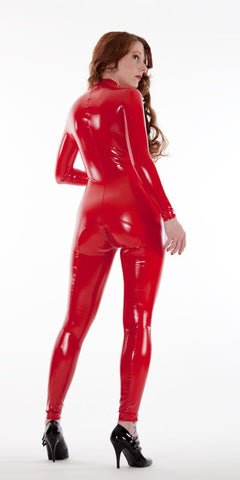 Front Zip Latex Look PVC Catsuit - Tasty Tiger - 5
