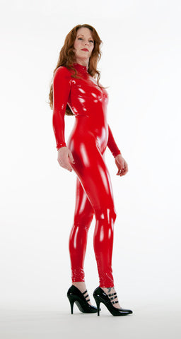 Busty Latex Look PVC Catsuit - Tasty Tiger - 4