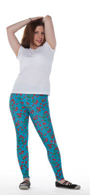 Blue Spandex Leggings With Cherries Print - Tasty Tiger - 4