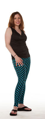 Black with Blue Dots Spandex Leggings - Tasty Tiger - 5