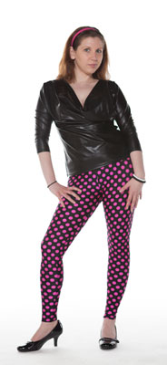 Black and Pink Dots Spandex Leggings - Tasty Tiger - 4