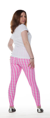 Pink Hounds Tooth Leggings - Tasty Tiger - 2