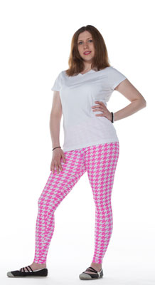 Pink Hounds Tooth Leggings - Tasty Tiger - 1