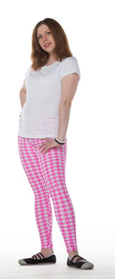 Pink Hounds Tooth Leggings - Tasty Tiger - 3