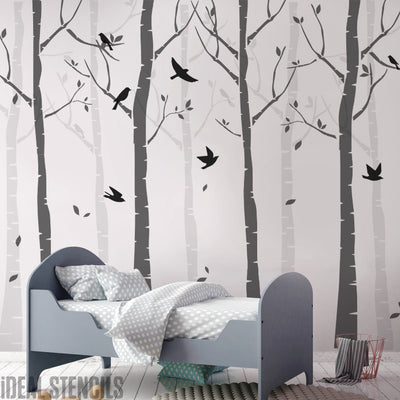Nursery Birch Tree Forest Wall Decor Stencils