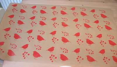 stencilled hand painted Christmas wrapping paper