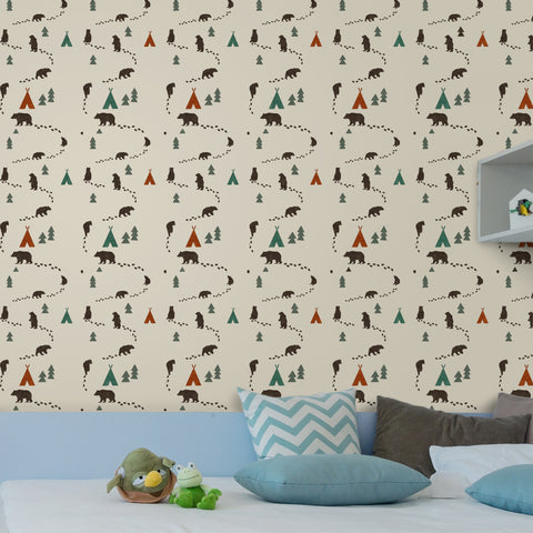 Bear woodland repeat apter nursery wall stencil