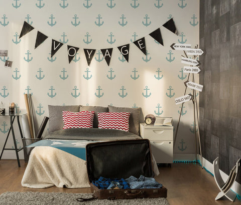 Anchor nautical stencil wall painting