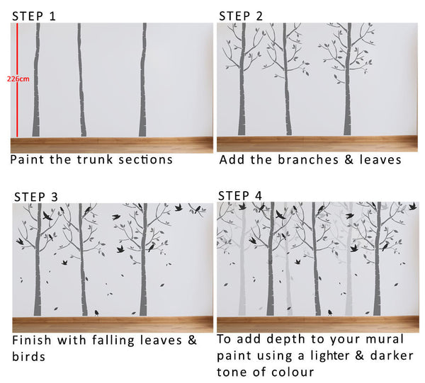 birch tree nursery mural stencil