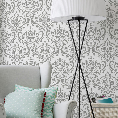 damask wall stencil pattern