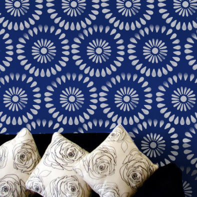 Indian flower wall stencil