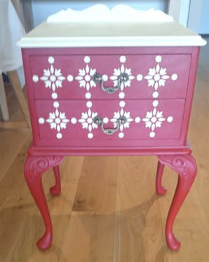 Moroccan pattern stenciled on drawers