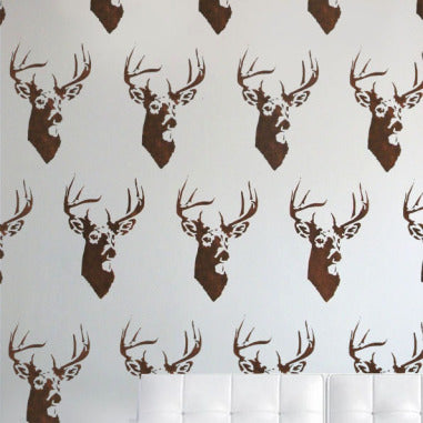 Stag head painted wall stencil