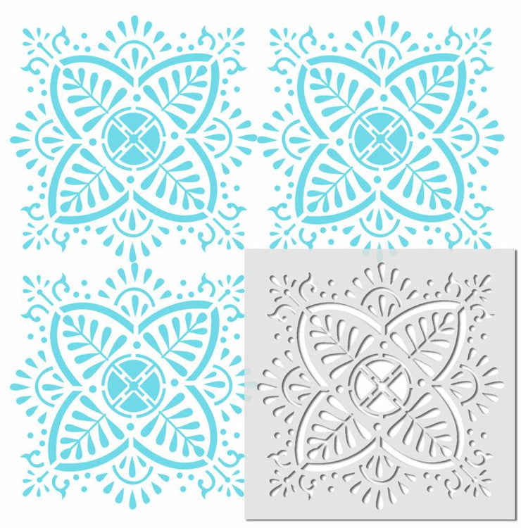 Balapur Indian flower stencil pattern