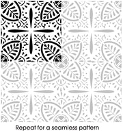 Balapur Indian Flower Seamless Pattern Stencil