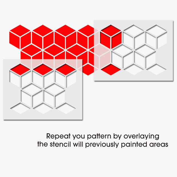 3D Cube Repeat Pattern Stencil