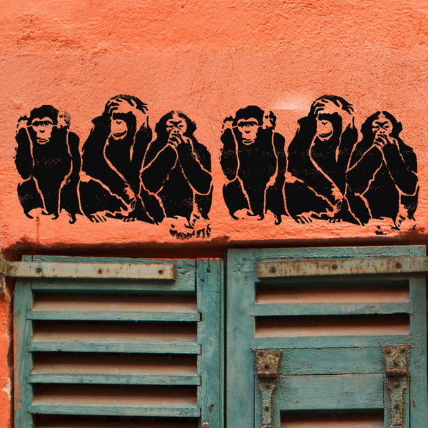 3 Wise Monkeys Stencil