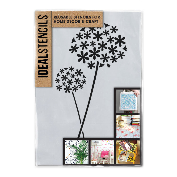 repeating floral flowers Cow parsley border pattern stencil 190 micron mylar