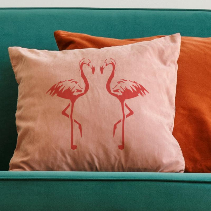 Flamingo stencil on cushions - home decor