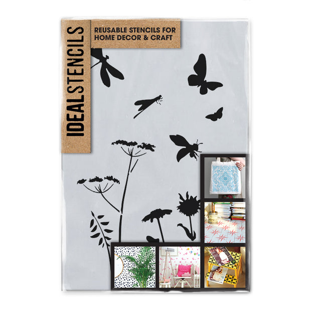 Garden flowers and insects Stencil