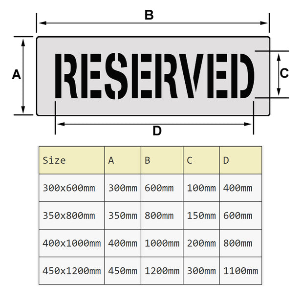 reserved car parking stencil size chart