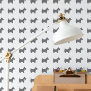 Scottie Dog Pattern Stencil painted on wall