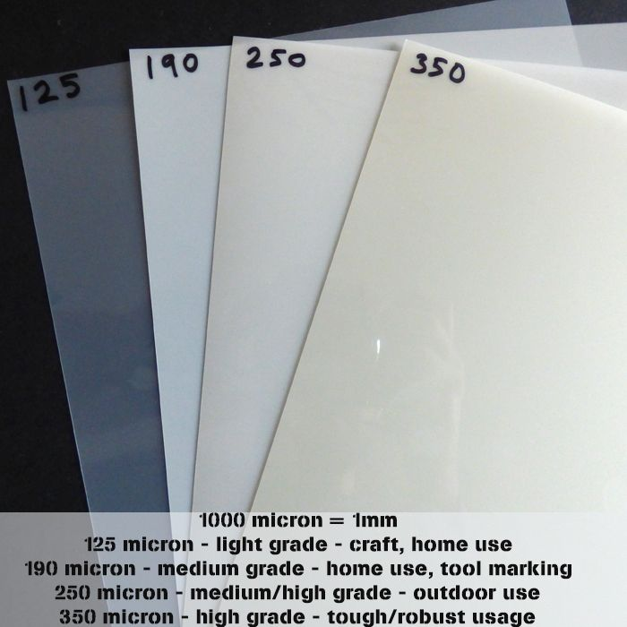 A2 (420 x 600mm) Mylar sheets - all microns