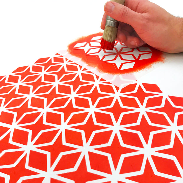 Painting geometric stencil pattern