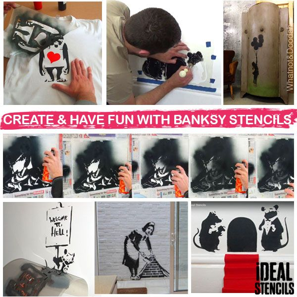 Banksy decorating rat stencil