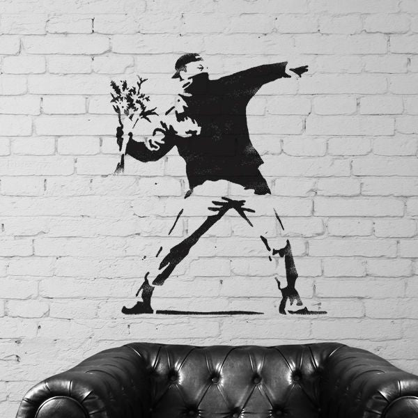 Banksy Flower Thrower Stencil
