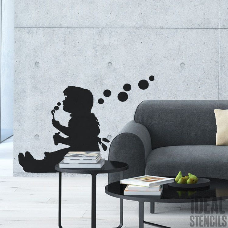 Banksy Girl Blowing Bubbles Stencil