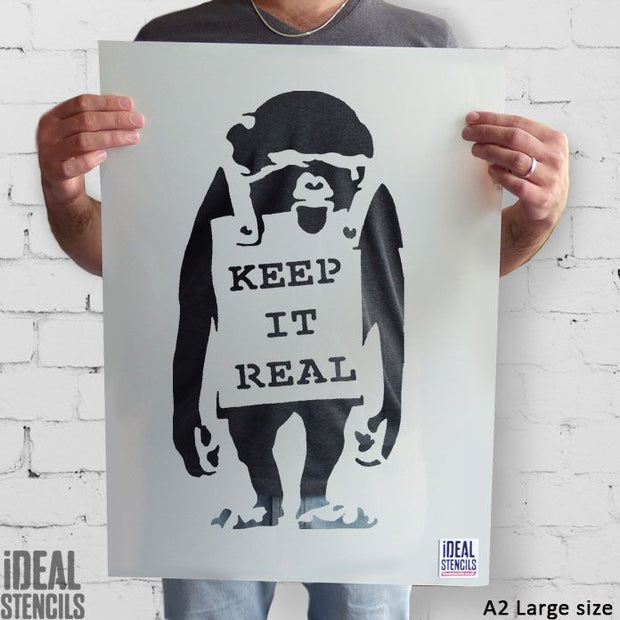 Banksy KEEP IT REAL Monkey Stencil