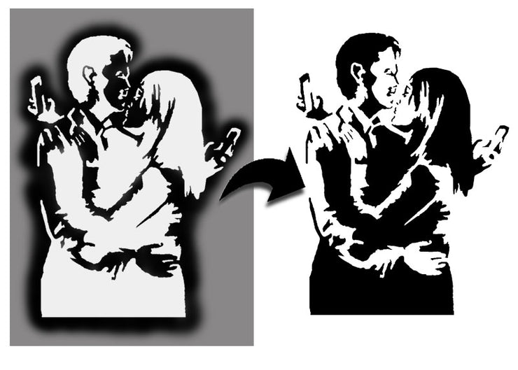 Banksy Mobile Lovers Stencil