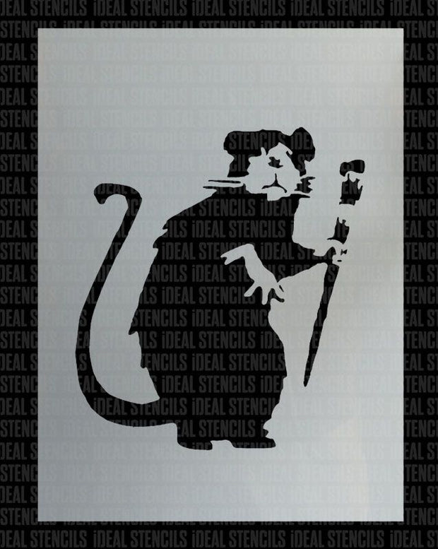 Banksy Paint Brush Rat Stencil