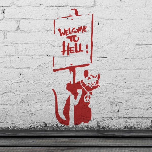 Banksy Rat Welcome To Hell