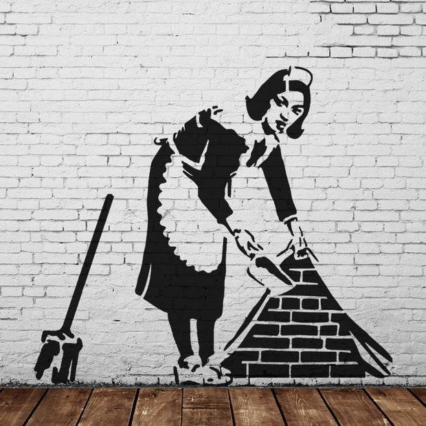 Banksy Sweeping Maid Stencil - Mural Size