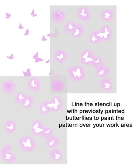 Butterfly wall pattern stencil
