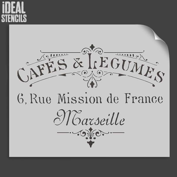 CAFES & LEGUMES french Stencil