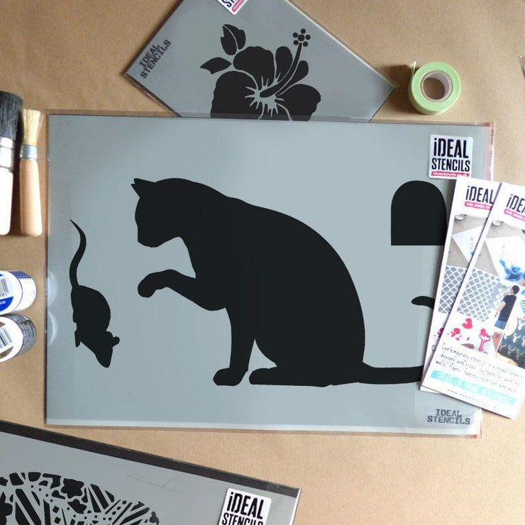 Cat and mouse stencil home decor