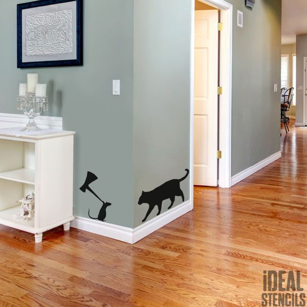 Cat & Mouse Decor Stencil