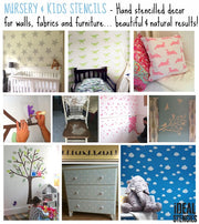 clouds (patterned) nursery decor stencil