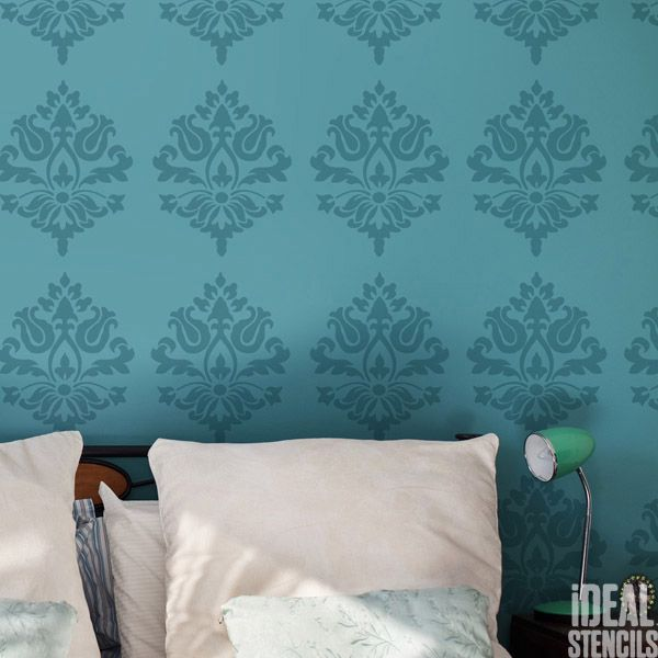 Damask wall pattern stencil